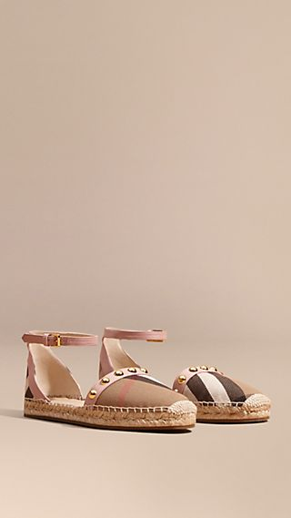 Studded Leather and House Check Espadrille Sandals Nude Blush