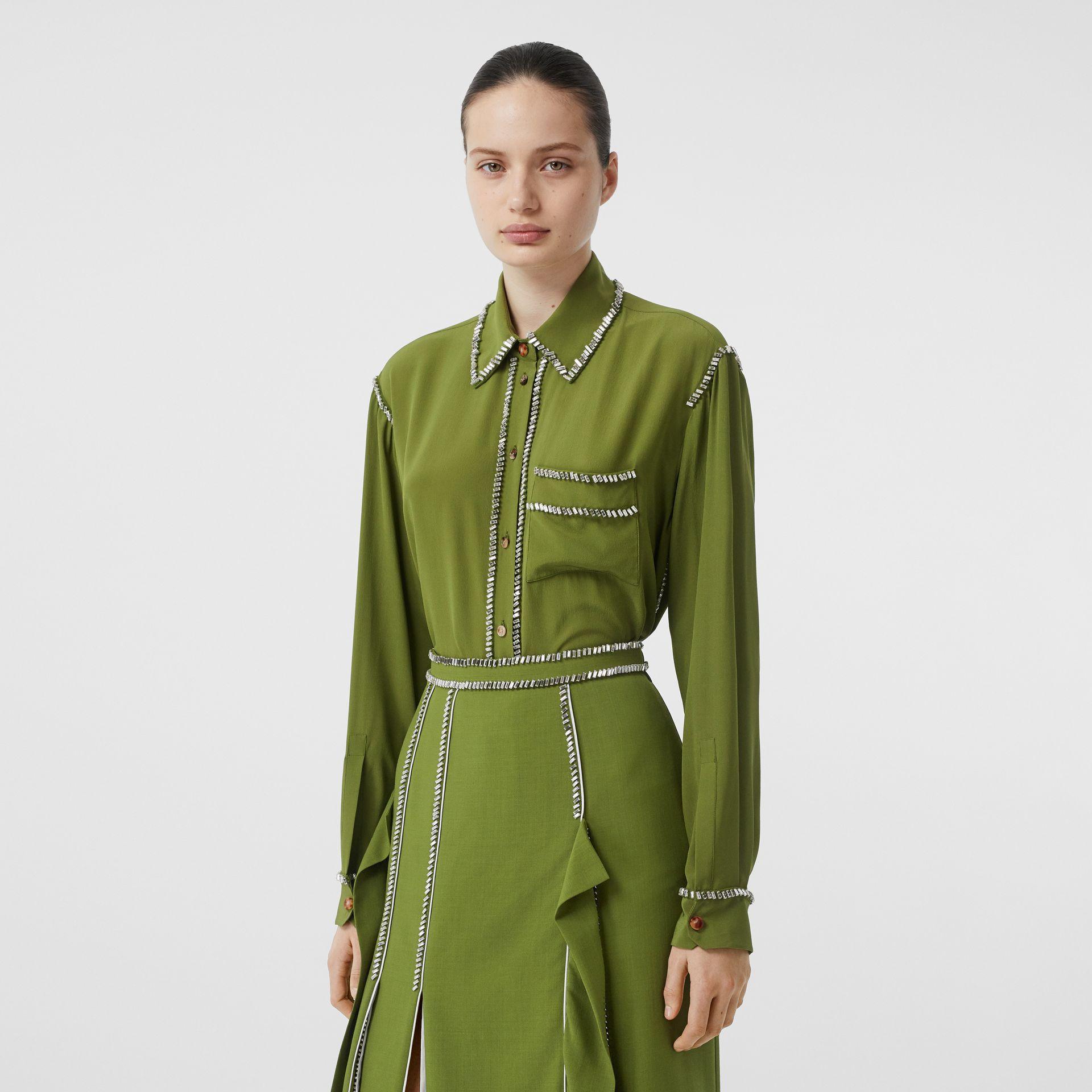 Embellished Silk Oversized Shirt in Cedar Green - Women | Burberry - gallery image 0