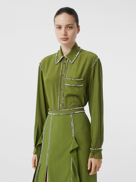 Embellished Silk Oversized Shirt in Cedar Green