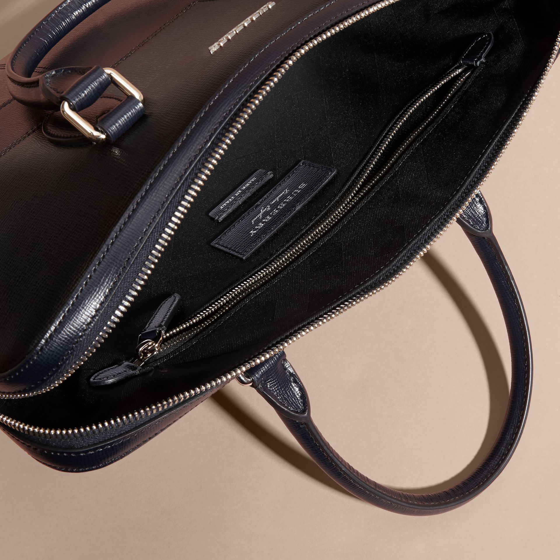 Dark navy The Slim Barrow Bag in Patchwork London Leather Dark Navy - gallery image 6