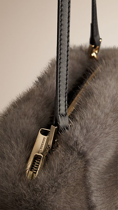 Mid grey melange Mink Clutch Bag - Image 7