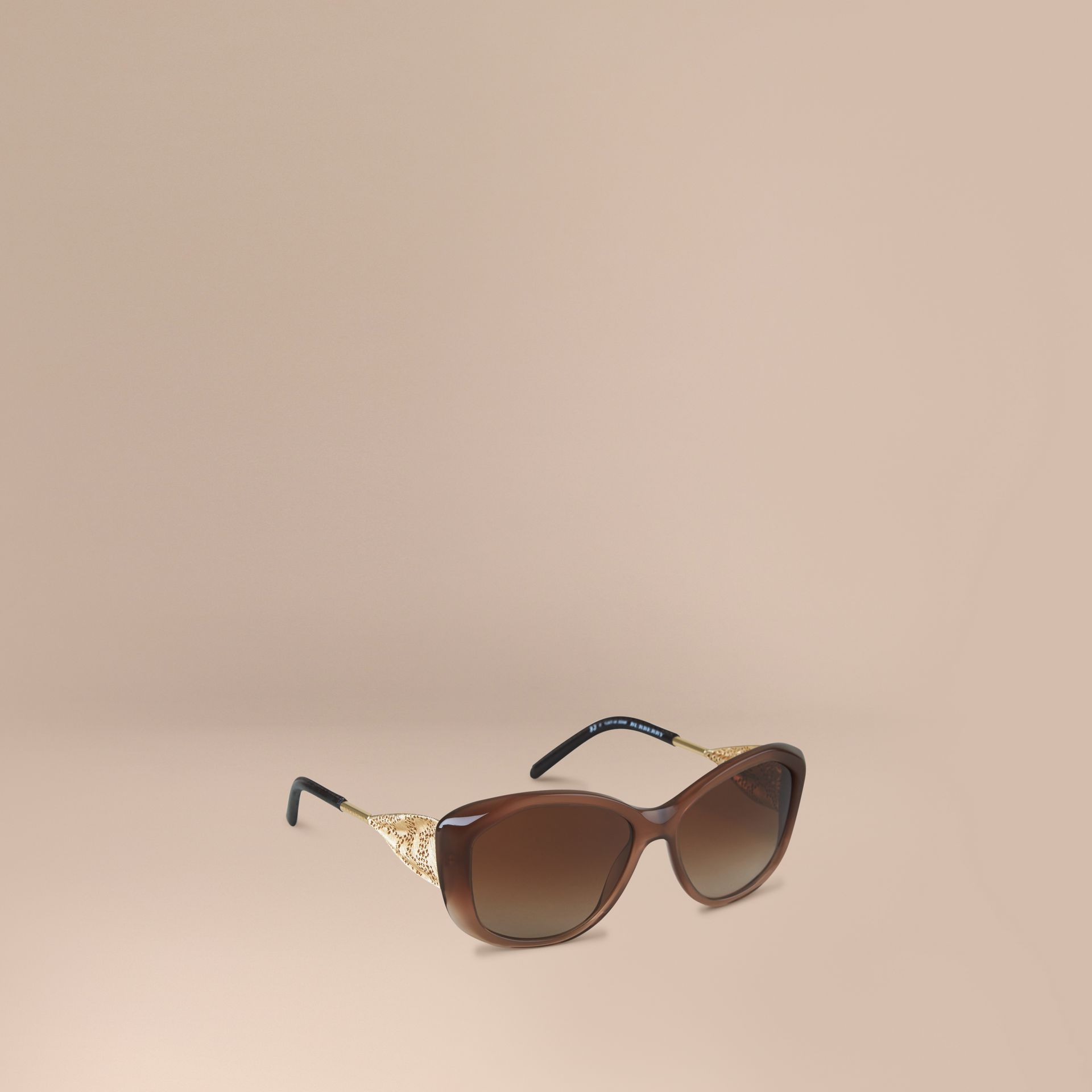 Dark amber Gabardine Lace Collection Square Frame Sunglasses Dark Amber - gallery image 1
