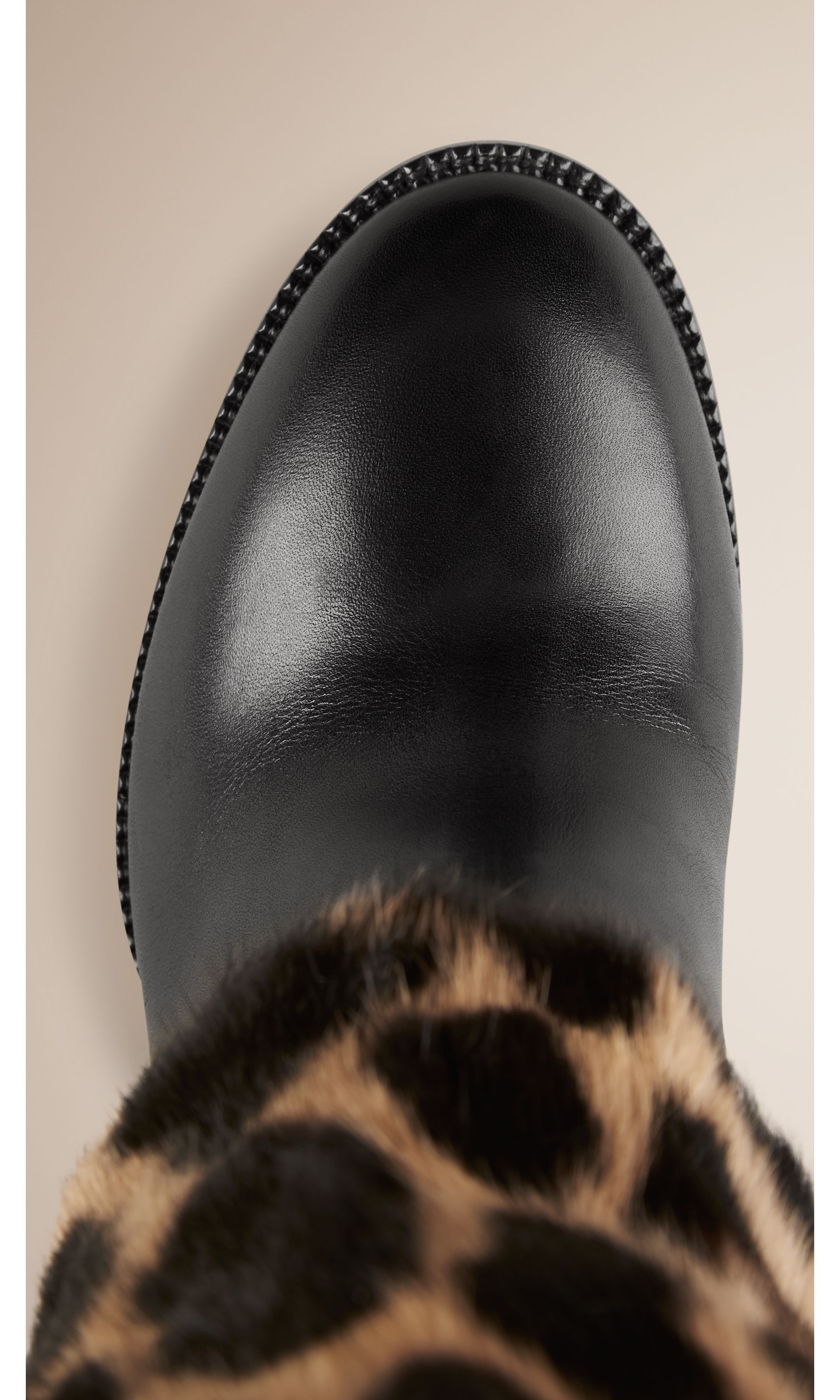 Animal Print Rabbit Fur and Leather Boots in Black - Women | Burberry United States - gallery image 3