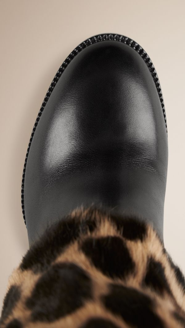 Animal Print Rabbit Fur and Leather Boots in Black - Women | Burberry United States - cell image 3
