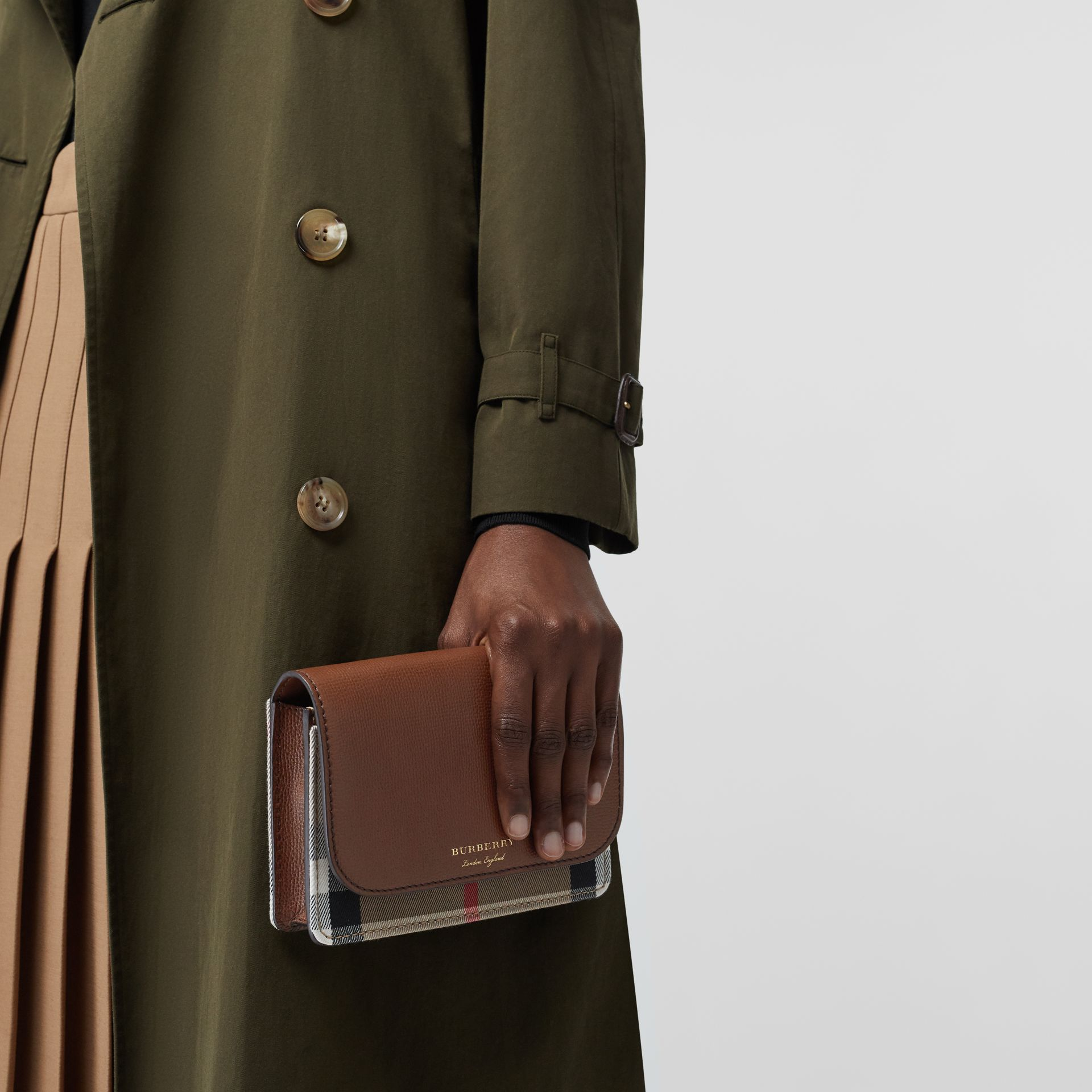 Leather and House Check Wallet with Detachable Strap in Tan - Women | Burberry - gallery image 3