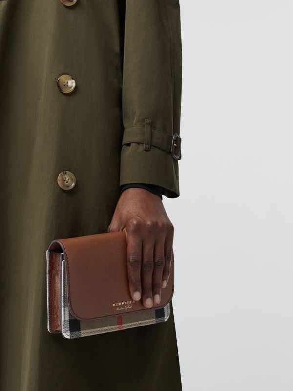 Leather and House Check Wallet with Detachable Strap in Tan - Women | Burberry United Kingdom - cell image 3
