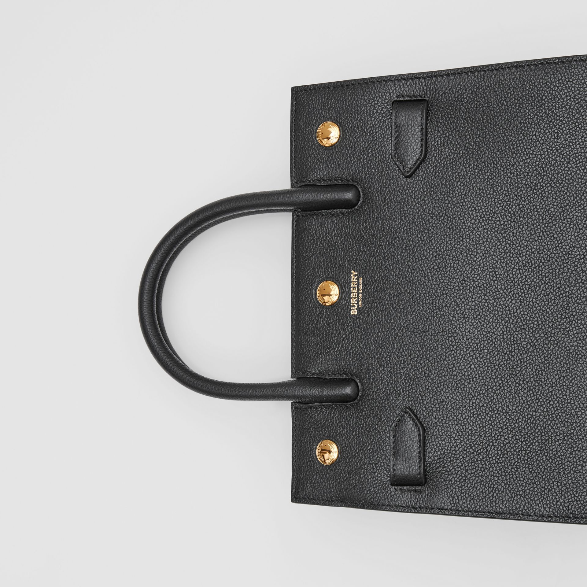 Mini Leather Two-handle Title Bag in Black - Women | Burberry - gallery image 1