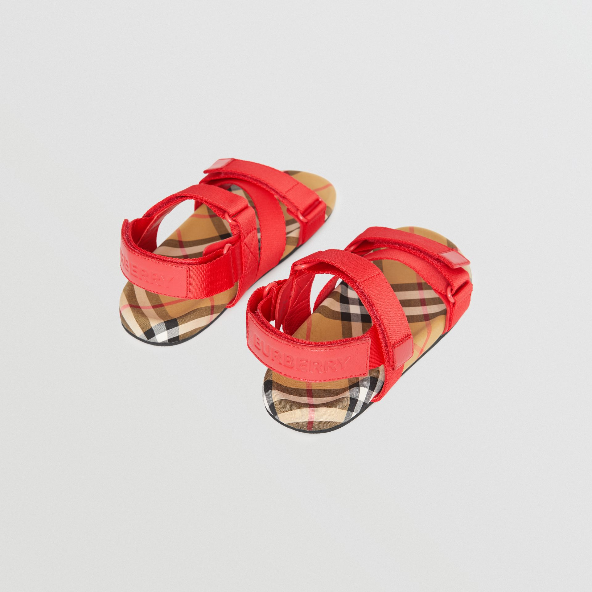 Ripstop Strap Vintage Check Cotton Sandals in Bright Red/antique Yellow - Children | Burberry Australia - gallery image 2