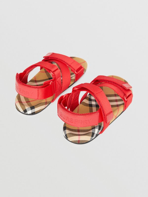 Sandales en coton Vintage check avec bride indéchirable (Rouge Vif/jaune Antique) - Enfant | Burberry - cell image 2
