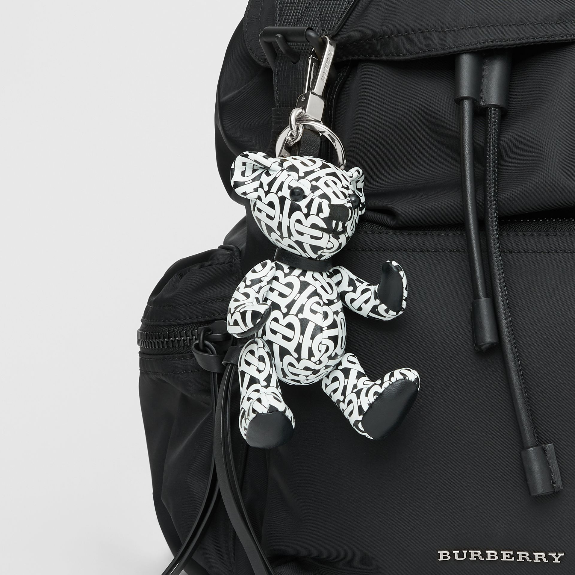 Thomas Bear Charm in Monogram Print Leather in Black/white | Burberry Canada - gallery image 4