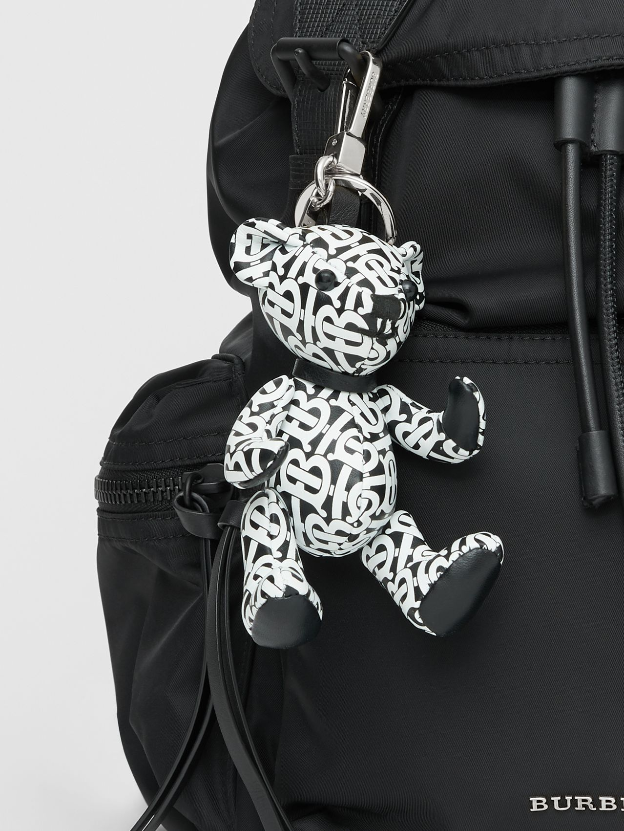 Thomas Bear Charm in Monogram Print Leather (Black/white)