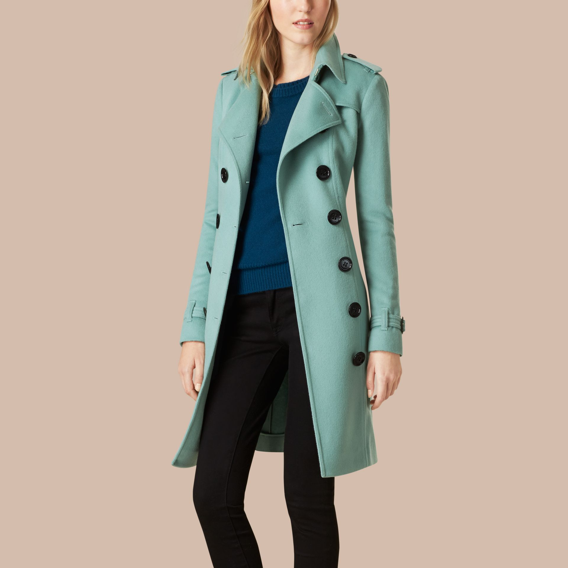 Dusty mint Sandringham Fit Cashmere Trench Coat Dusty Mint - gallery image 4