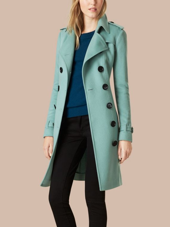 Dusty mint Sandringham Fit Cashmere Trench Coat Dusty Mint - cell image 3