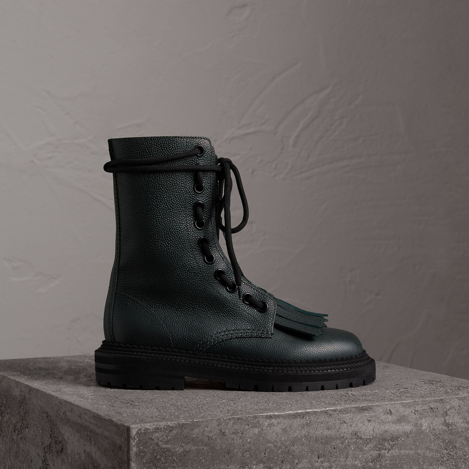 Fringe Detail Grainy Leather Military Boots in Deep Viridian Green - Women | Burberry United Kingdom - gallery image 0