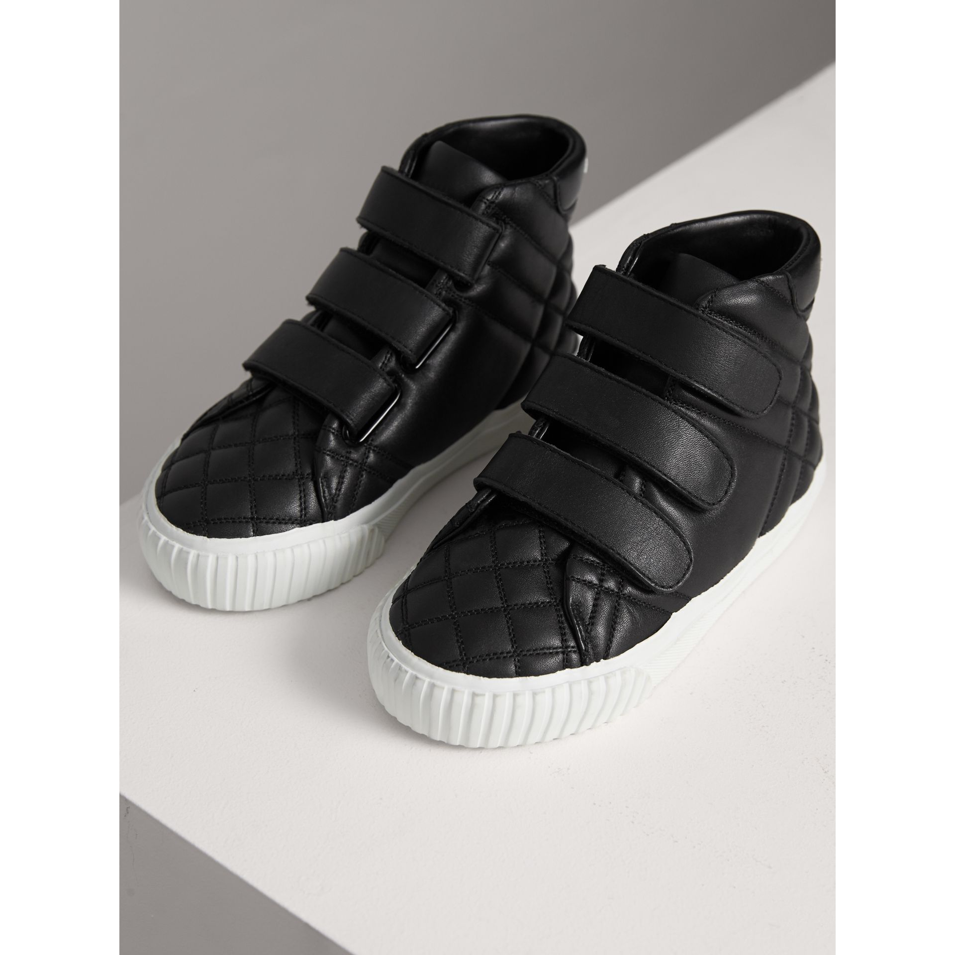 Check-quilted Leather High-top Sneakers in Black - Children | Burberry United States - gallery image 3