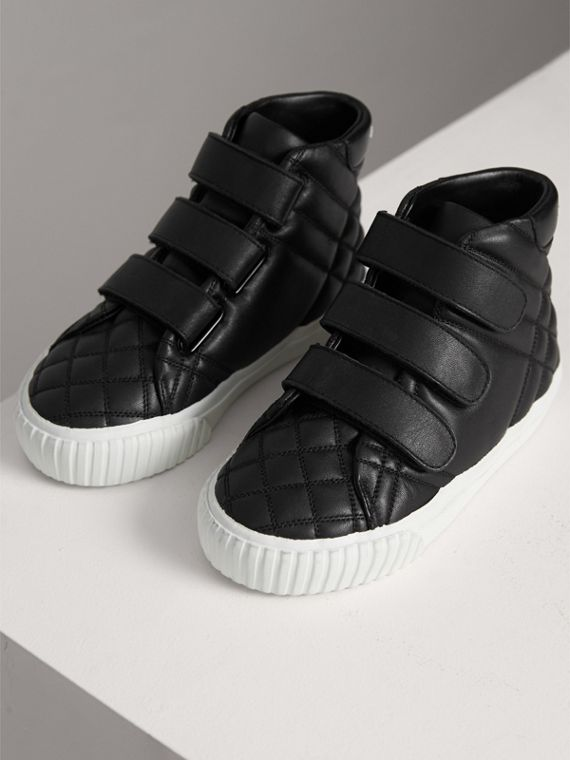 Check-quilted Leather High-top Sneakers in Black | Burberry United States - cell image 3