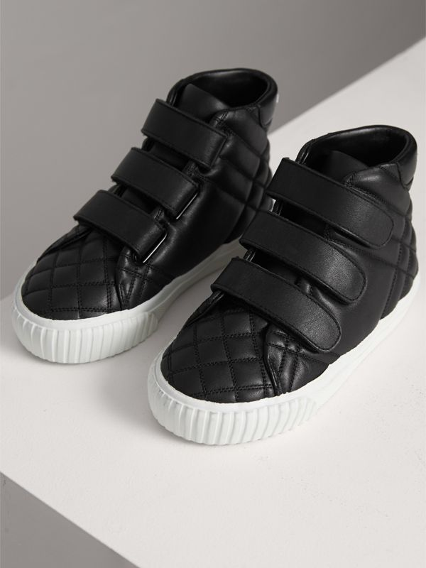 Check-quilted Leather High-top Sneakers in Black - Children | Burberry United States - cell image 3