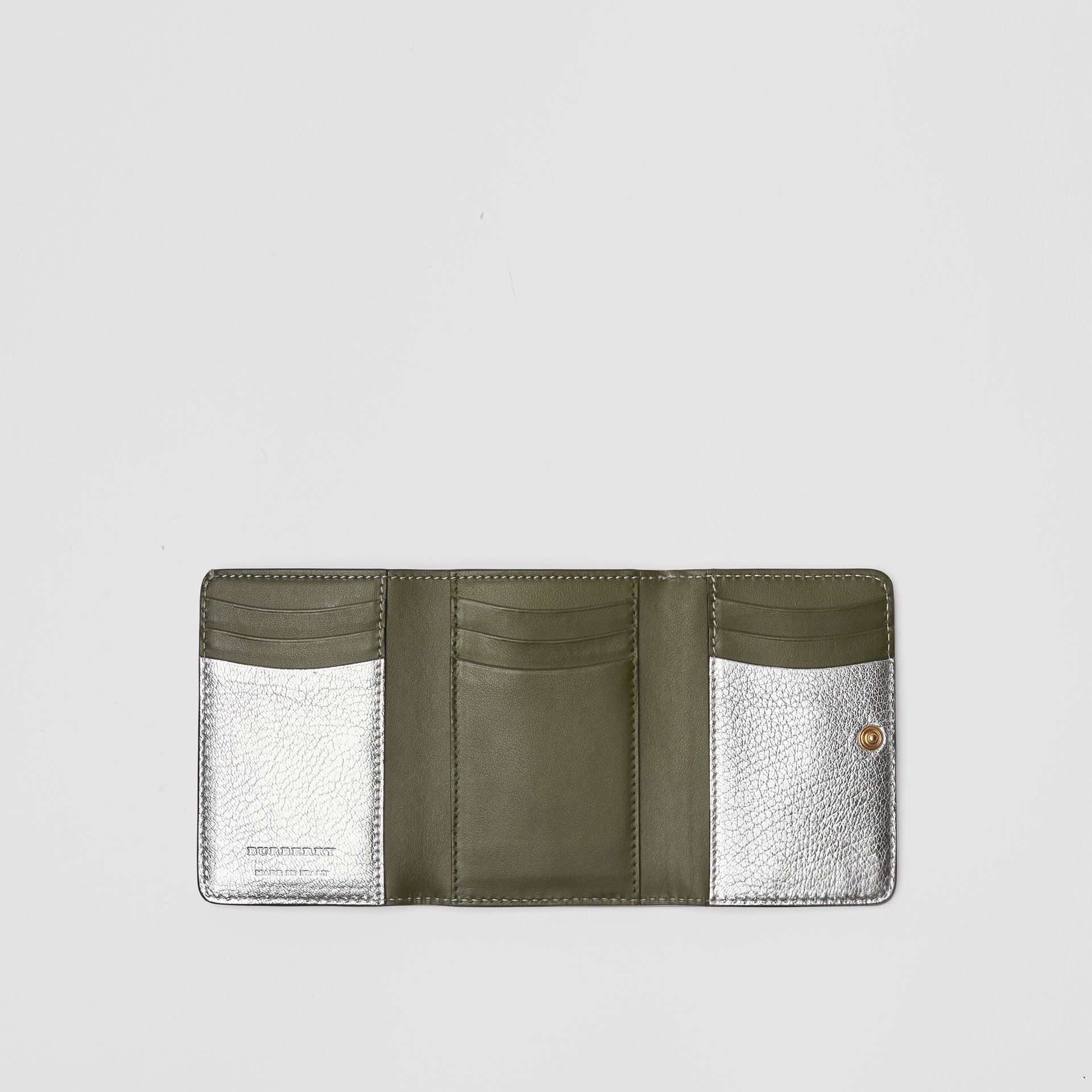 Small D-ring Metallic Leather Wallet in Silver - Women | Burberry United Kingdom - gallery image 2