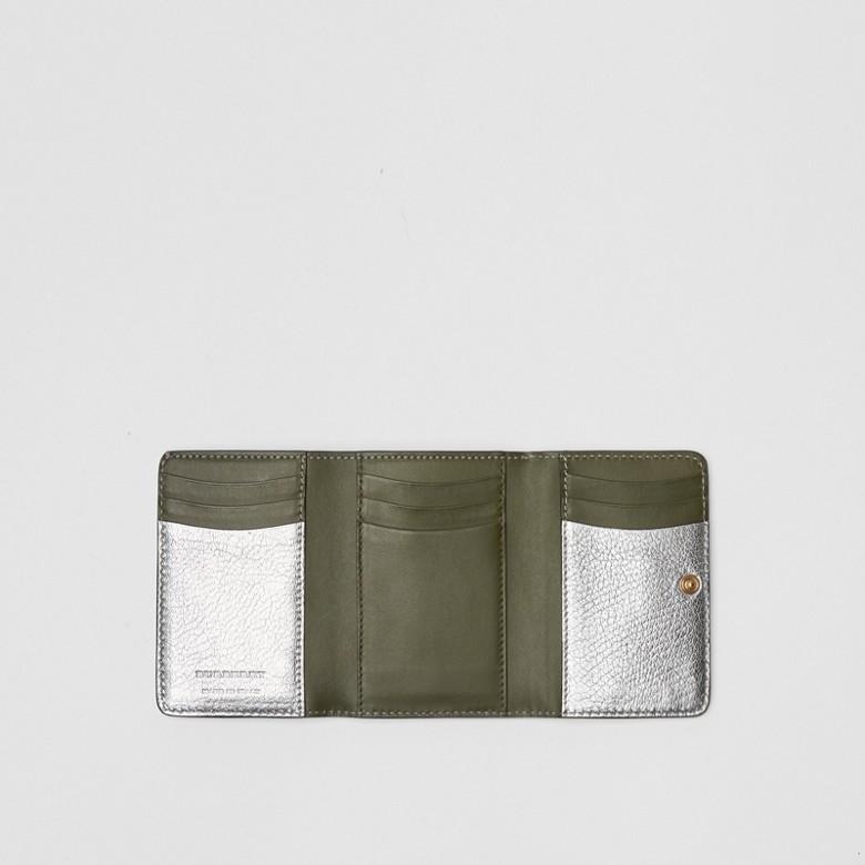 Burberry - Petit portefeuille en cuir métallisé avec boucle en D - 3