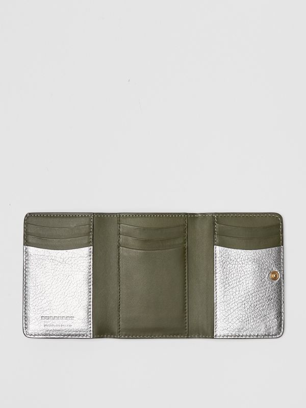 Small D-ring Metallic Leather Wallet in Silver - Women | Burberry United Kingdom - cell image 2