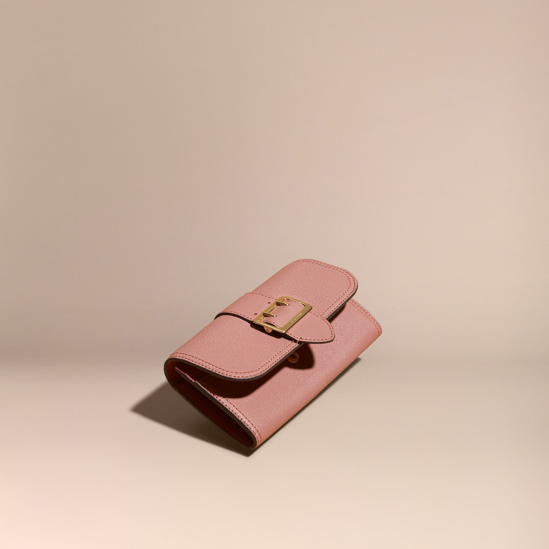 Textured Leather Continental Wallet Dusty Pink - gallery image 1