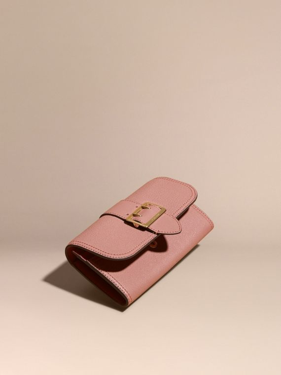 Textured Leather Continental Wallet in Dusty Pink