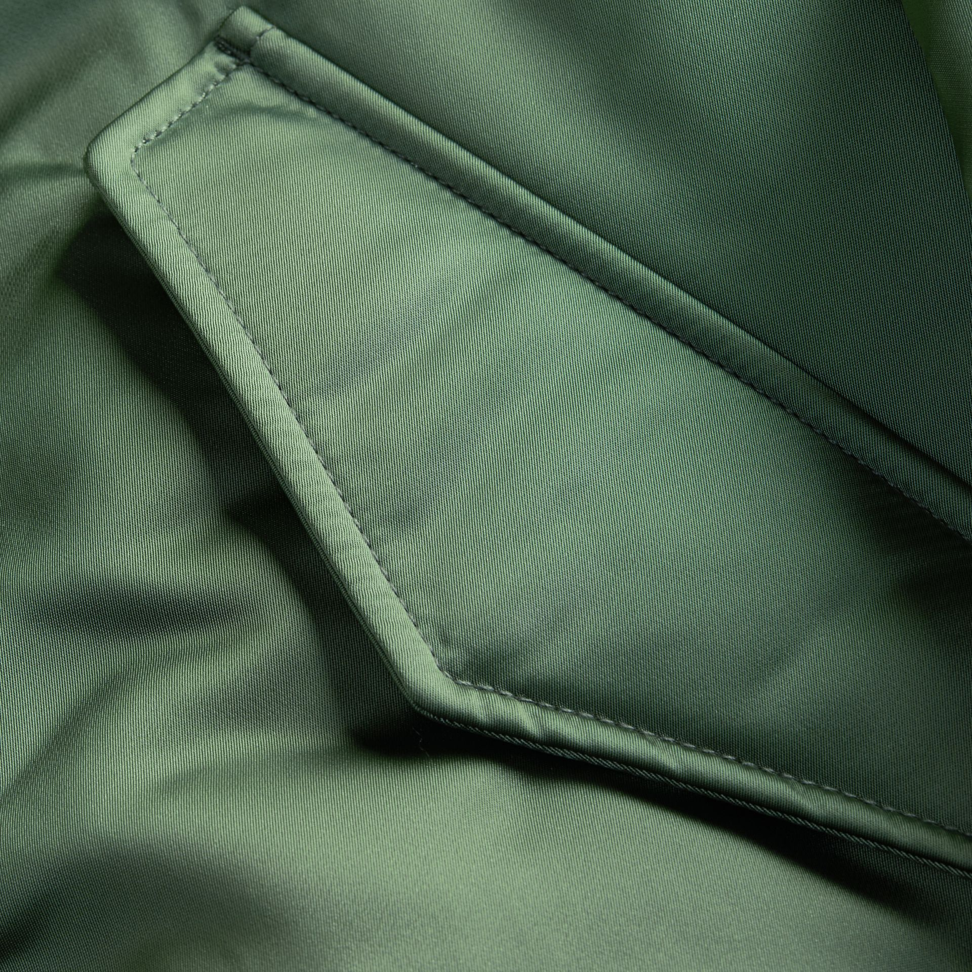 Eucalyptus green Long-line Satin Bomber Jacket with Fur-trimmed Hood Eucalyptus Green - gallery image 2
