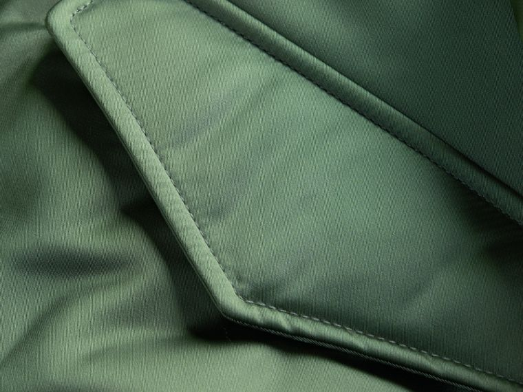 Eucalyptus green Long-line Satin Bomber Jacket with Fur-trimmed Hood Eucalyptus Green - cell image 1