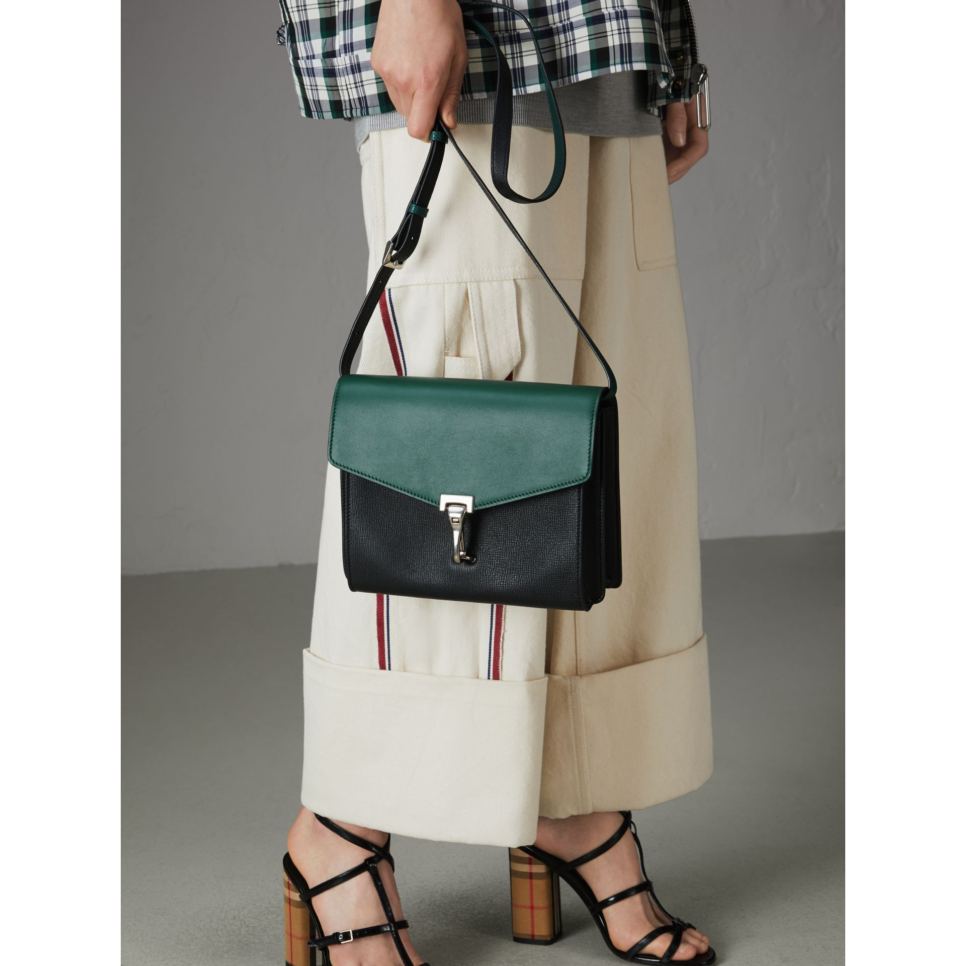 Two-tone Leather Crossbody Bag in Black/sea Green - Women | Burberry United Kingdom - gallery image 3