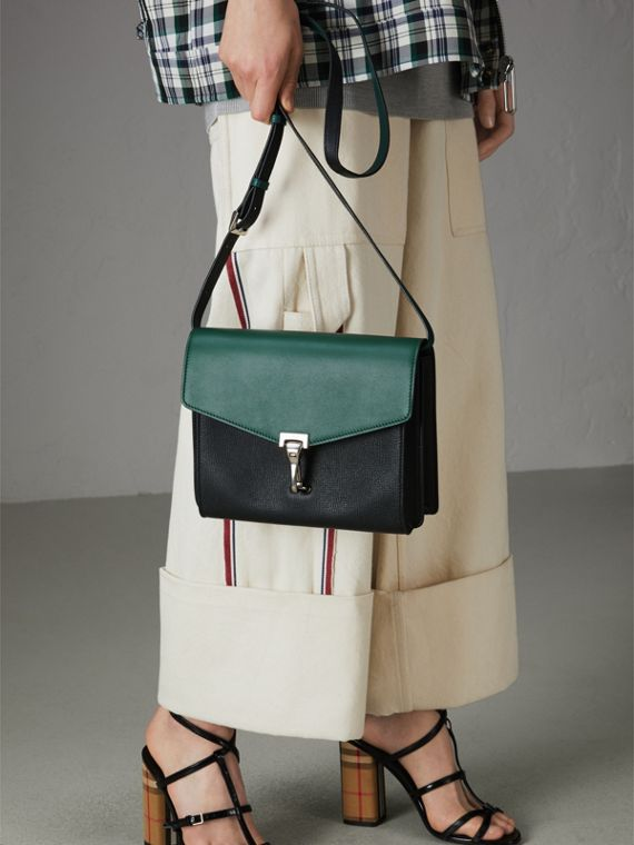 Two-tone Leather Crossbody Bag in Black/sea Green - Women | Burberry United Kingdom - cell image 3