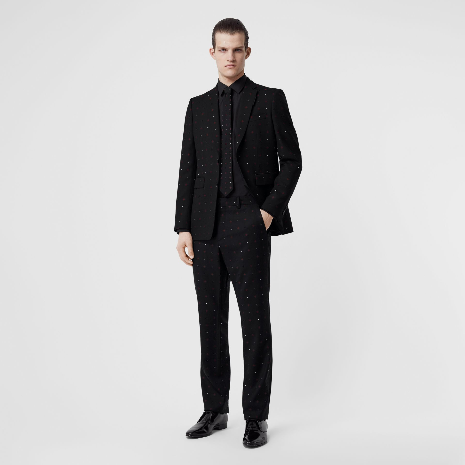 Classic Fit Fil Coupé Wool Cotton Tailored Trousers in Black - Men | Burberry - gallery image 0