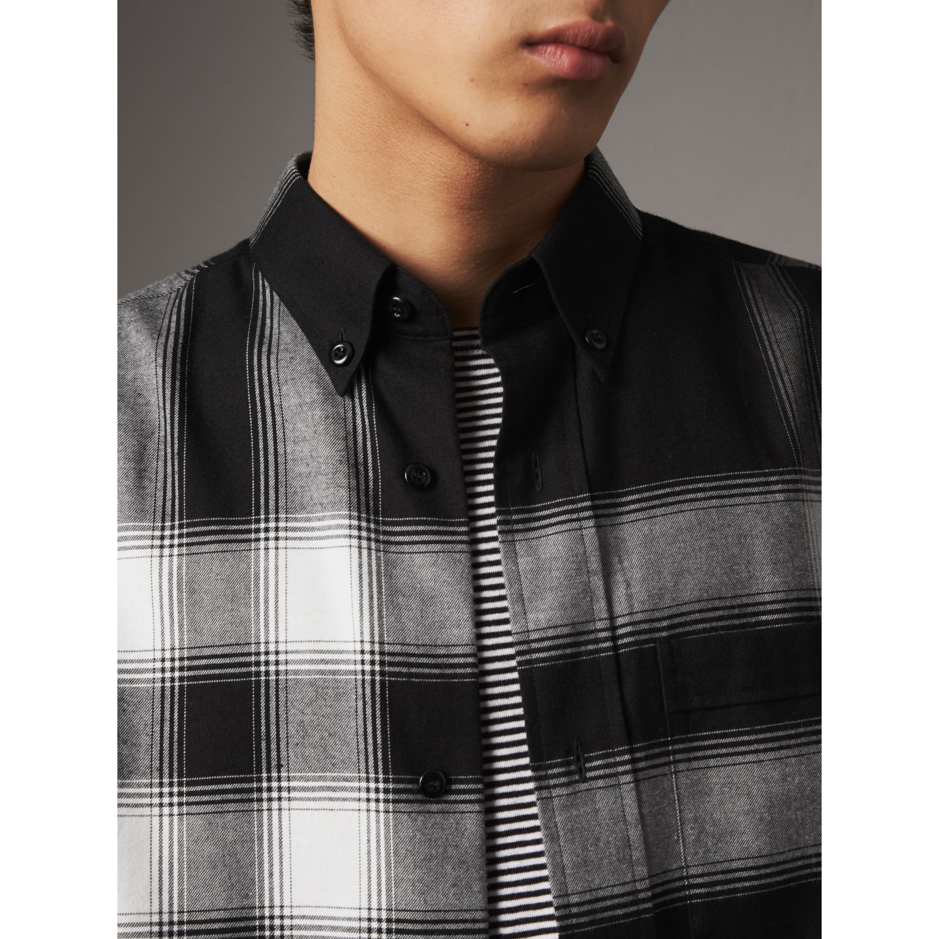 Ombré Check Cotton Flannel Shirt in Black - Men | Burberry - gallery image 2