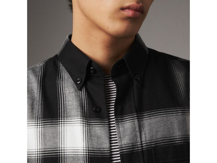 Ombré Check Cotton Flannel Shirt in Black - Men | Burberry - cell image 1