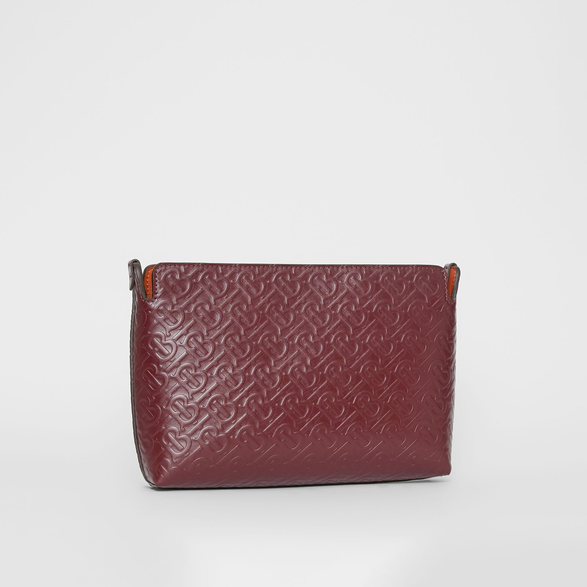 Medium Monogram Leather Clutch in Oxblood - Women | Burberry Australia - gallery image 3