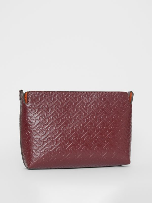 Medium Monogram Leather Clutch in Oxblood - Women | Burberry - cell image 3