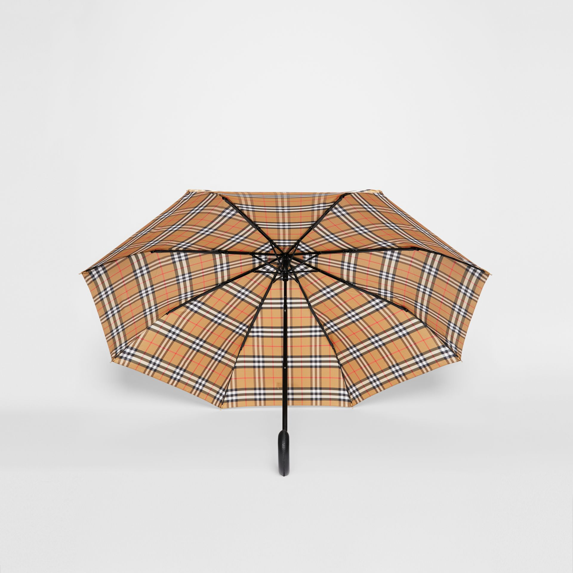 Vintage Check Folding Umbrella in Antique Yellow | Burberry United States - gallery image 2