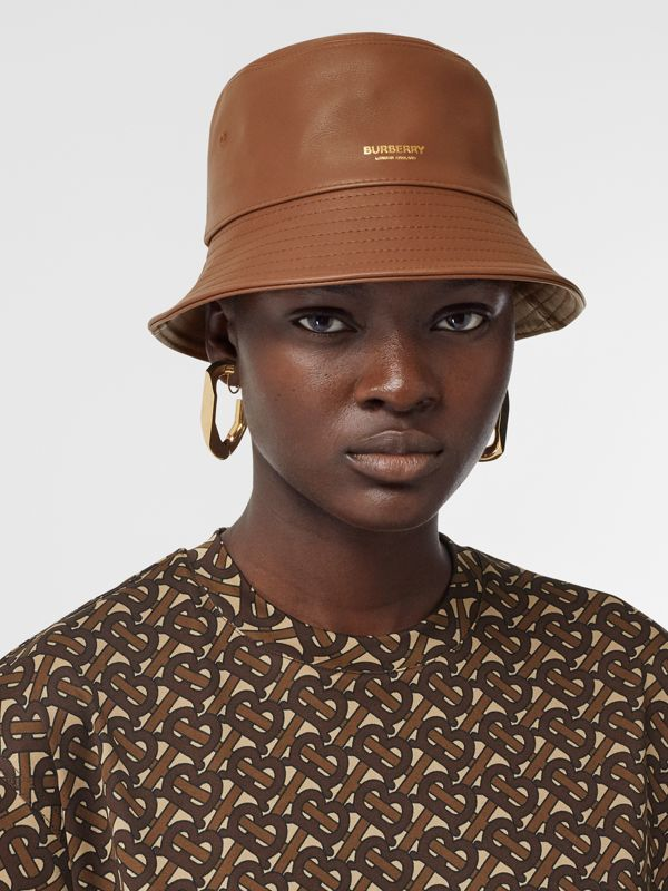 Logo Detail Leather Bucket Hat in Tan | Burberry United States - cell image 2