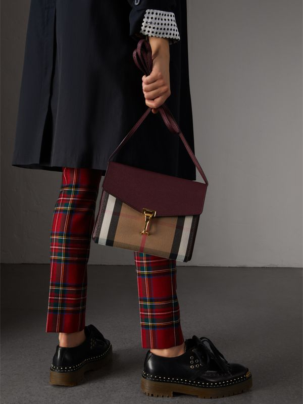Small Leather and House Check Crossbody Bag in Mahogany Red - Women | Burberry - cell image 2