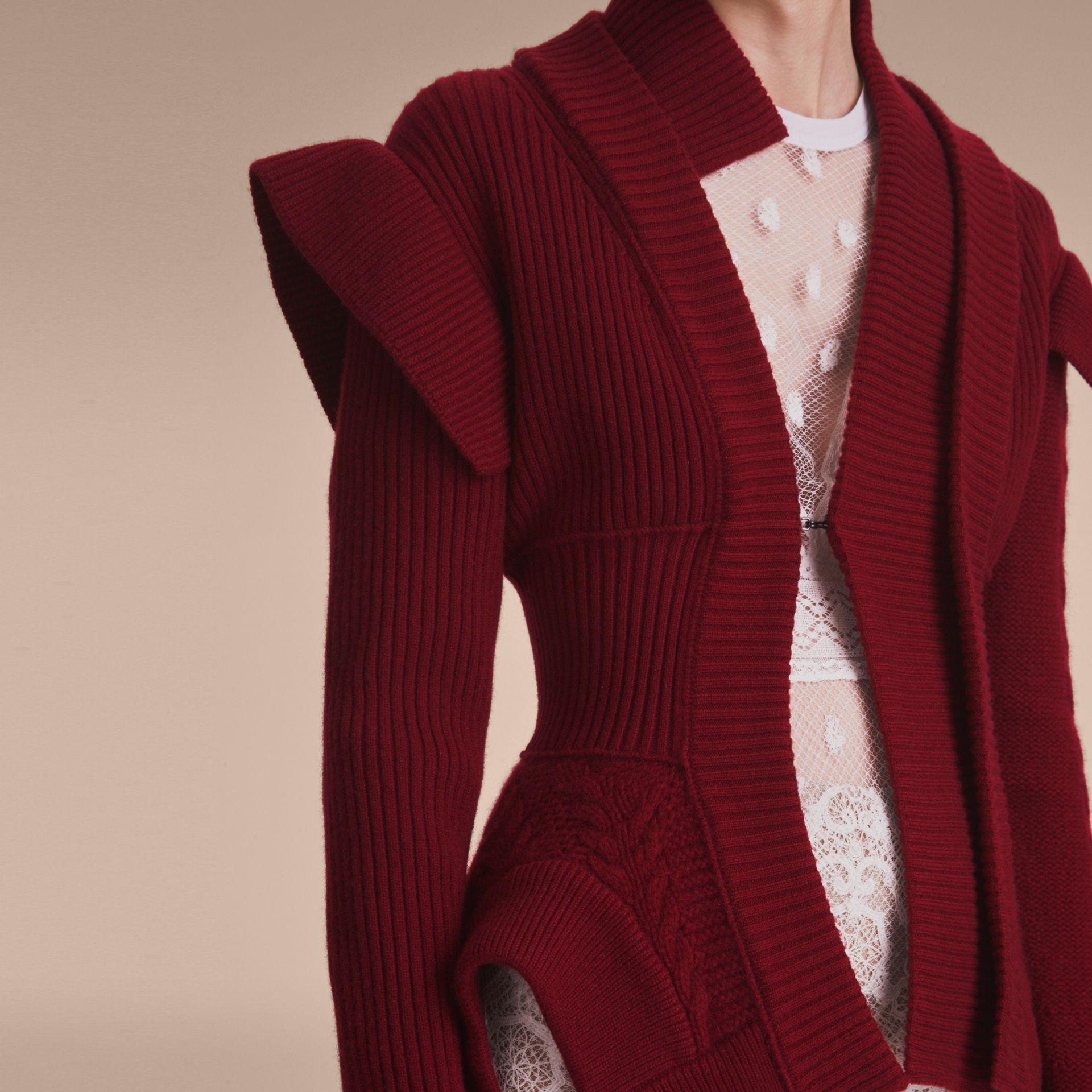 Knitted Wool Cashmere Military-inspired Jacket in Bordeaux - Women | Burberry Singapore - gallery image 5