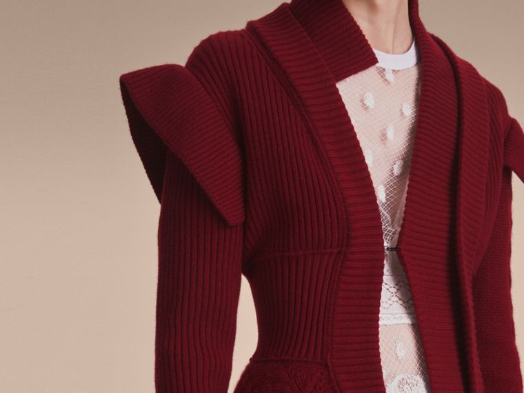 Knitted Wool Cashmere Military-inspired Jacket in Bordeaux - Women | Burberry - cell image 4