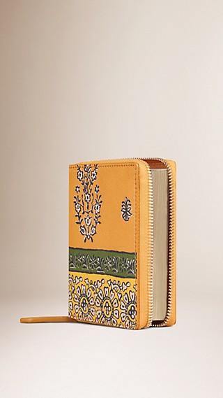 Ziparound Floral Print Leather Mini Notebook