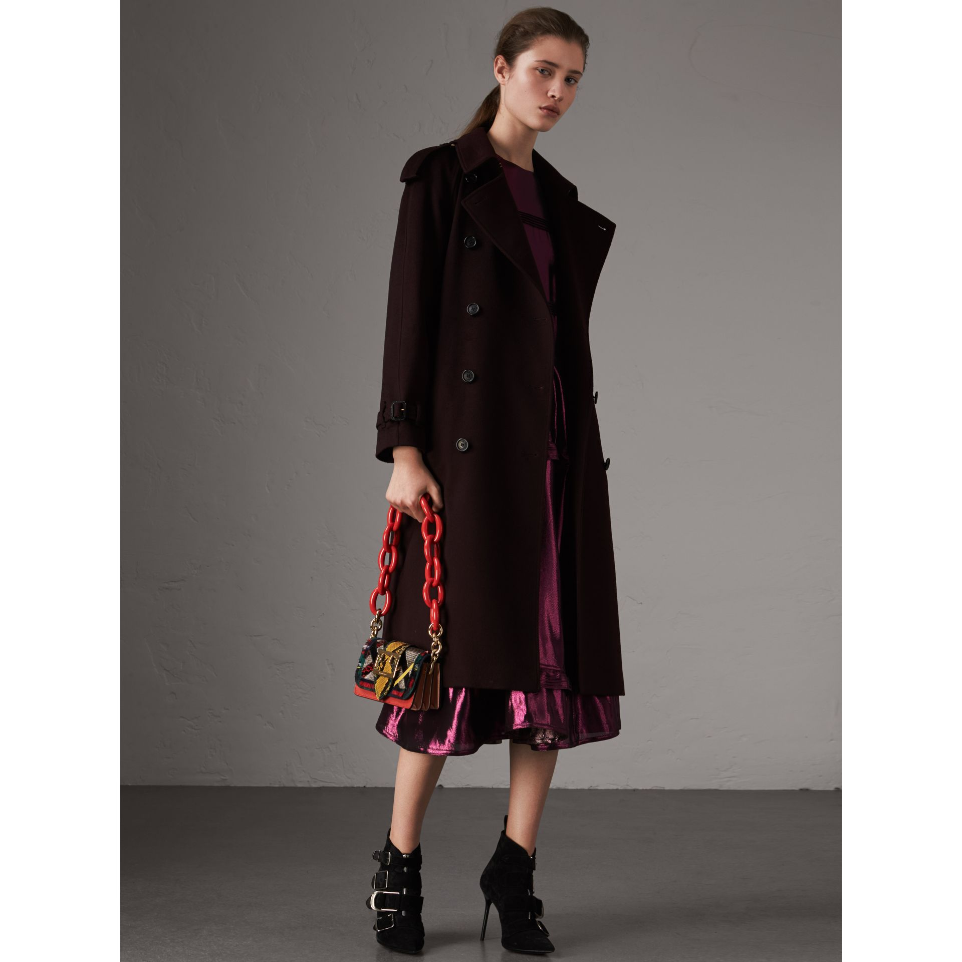 Cashmere Trench Coat in Blackcurrant - Women | Burberry - gallery image 0
