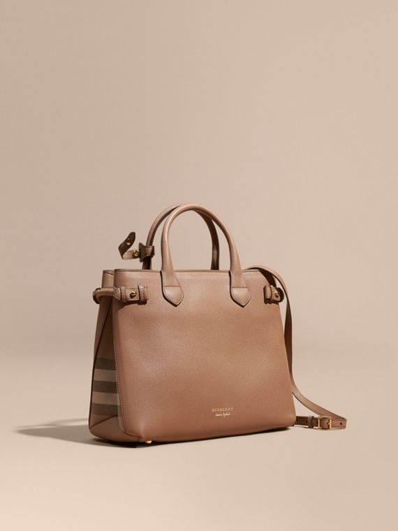 The Medium Banner in Leather and House Check in Dark Sand - Women | Burberry