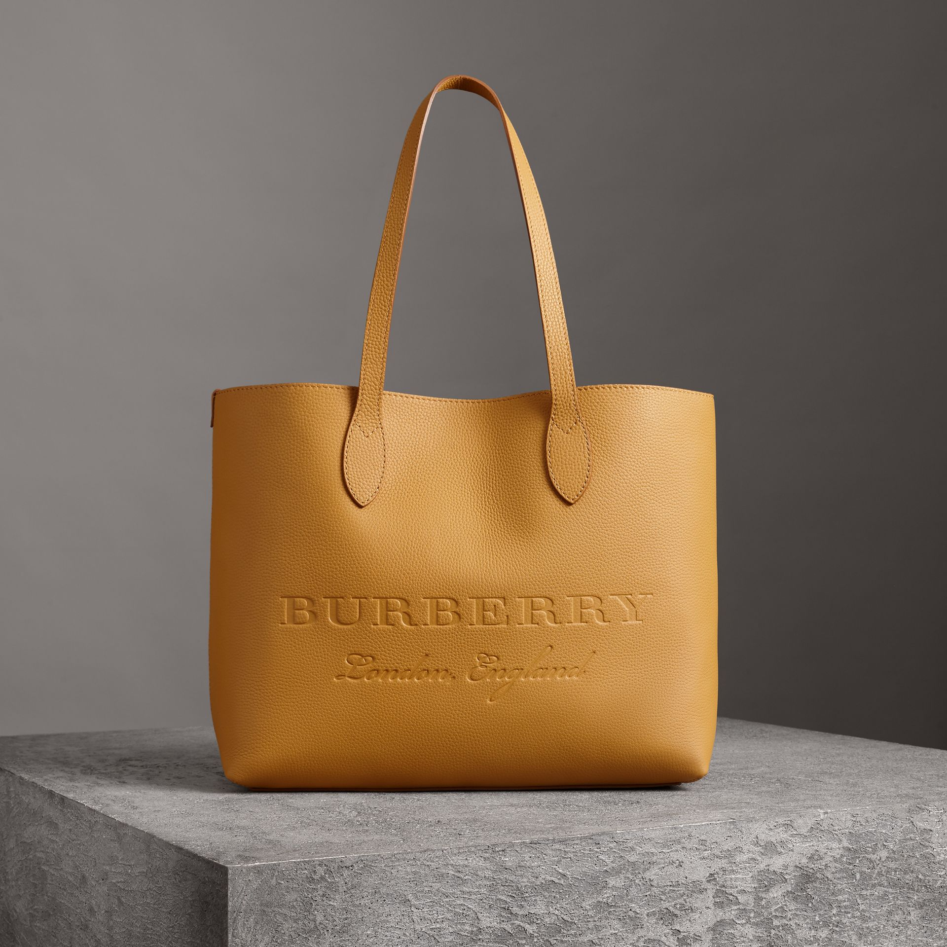 Embossed Leather Tote in Ochre Yellow | Burberry - gallery image 0