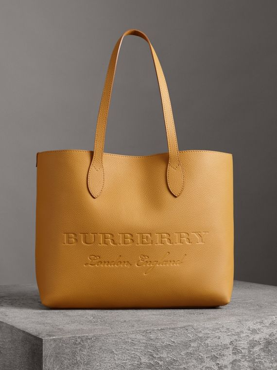 Embossed Leather Tote in Ochre Yellow