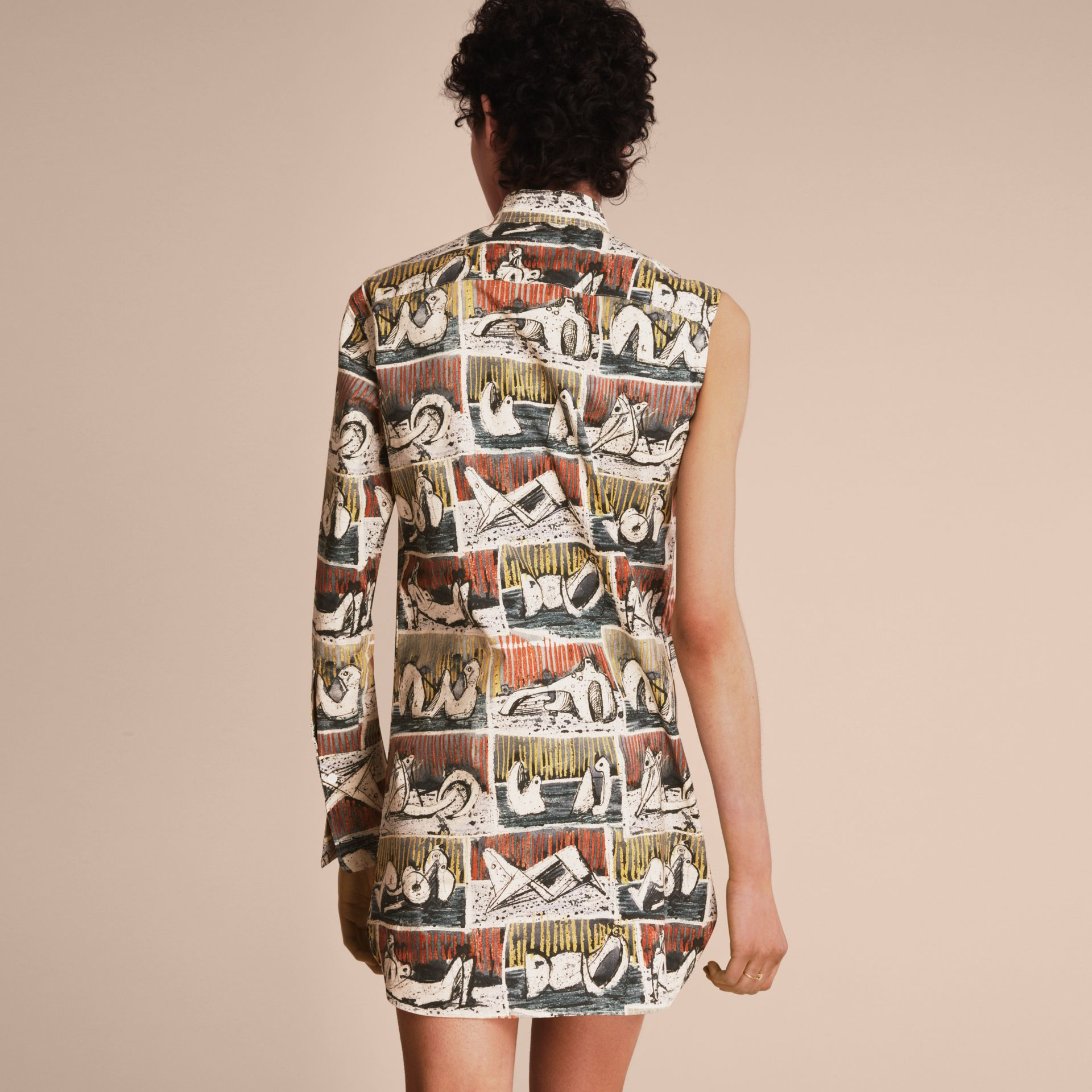 One-shoulder Reclining Figures Print Shirt Dress - Women | Burberry Singapore - gallery image 3