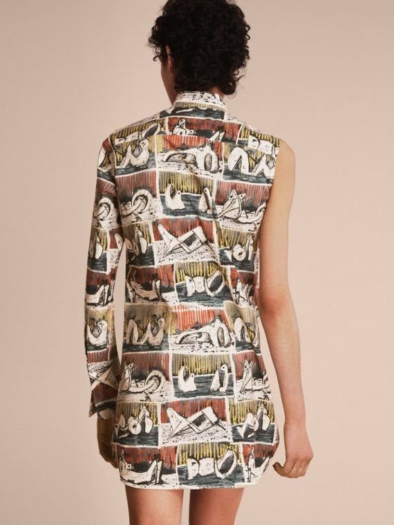 One-shoulder Reclining Figures Print Shirt Dress - cell image 2
