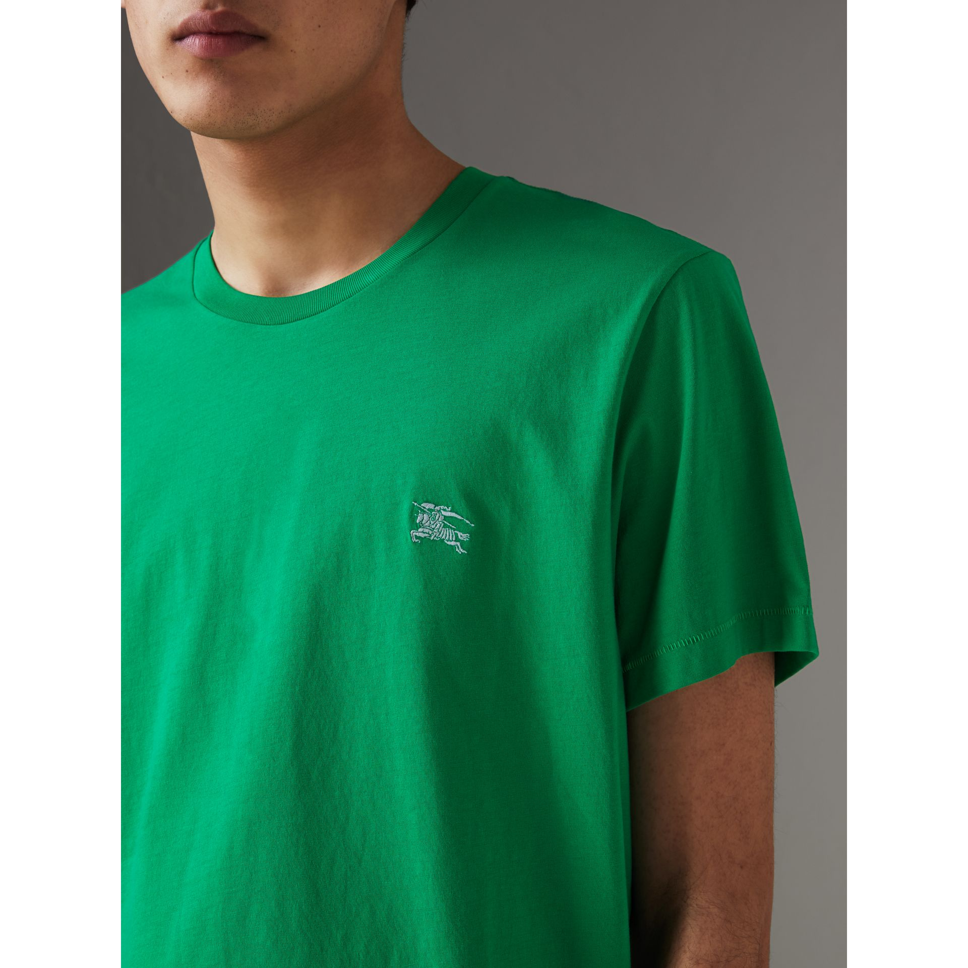 Cotton Jersey T-shirt in Bright Green - Men | Burberry - gallery image 1