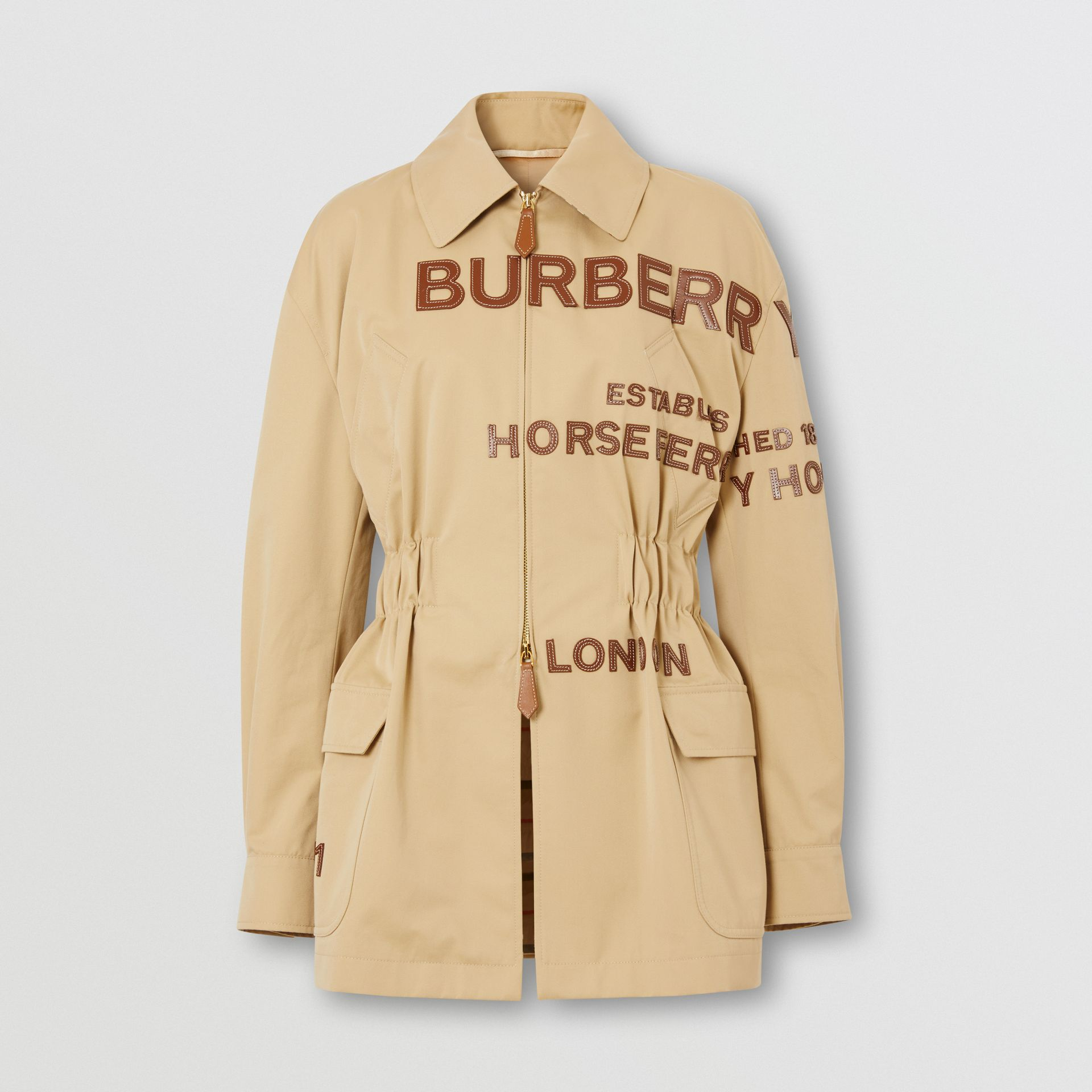 Leather Horseferry Appliqué Cotton Riding Jacket in Honey - Women | Burberry - gallery image 3
