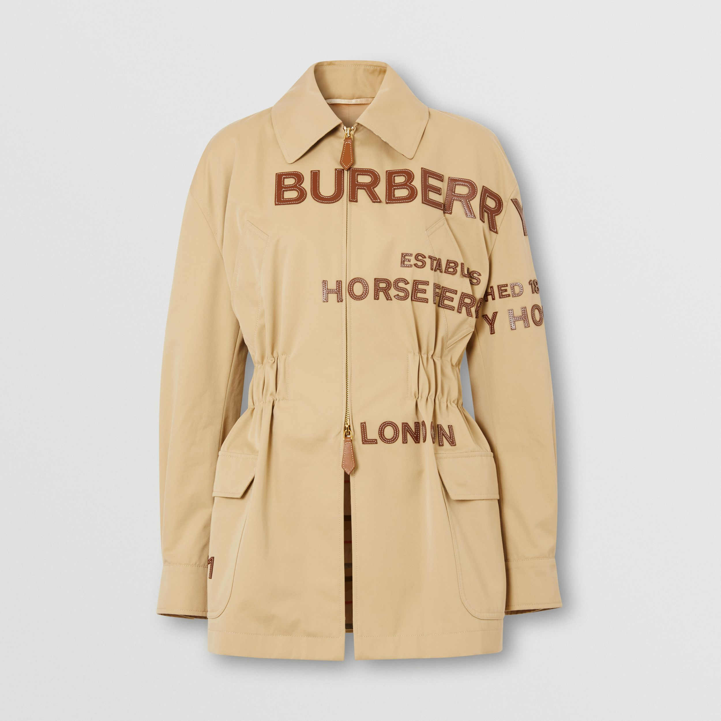 Leather Horseferry Appliqué Cotton Riding Jacket in Honey - Women | Burberry - 4